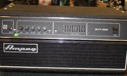 New Old Stock, Discontinued model, perfect condition. The Ampeg SVT450H, in true Ampeg tradition, offers you more power, performance and flexibility than any other bass amplifier in its class. In the world of high performance bass amps, Ampeg amplifiers