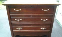 "ANTIQUE 3 DRAWER DRESSER - 125.00 There is NO KEY. Told it was made between 1871-1900 Has was is called Knapp joints. I believe all original except for new handles. Dresser has only been polyurethaned. Dresser measures: 36"" long - 18"" wide - 31"" high Top"