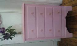 Vintage pink dresser and mirror. Maple oak wood with a splash of pink color. Pretty, stylish, and elegant. Excellent design. It is an antique, but it looks brand new. Good condition. Fits in any luxury room. It is a beautiful pink color! Dimensions: small