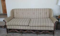 "Antique Victorian Sofa Originaly from Watertown's Old Koen's Furniture Store & purchased from the family estate. 6 ft 7"" long x 33 1/2 High, (2) cushions w/clips to hold in place, seat measures 5' 7"". six buttons across the back, 18"" floor to cushions"