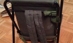 Backpack with built in Seat Chair Military Green Small. Good condition. Backpack adjuster straps are tied since the adjuster is broken but you can tie to your liking and they will hold firmly. Cash Only. Pick up only. Midtown West.