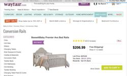 The sale is for a GREY OR BEIGE complete 4 in 1 conversion crib which was purchased in April of 2013 and does not have any visible signs of wear. Included will be all conversion kits, ,mattress, and crib skirt if desired otherwise it will just be for the