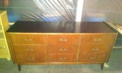 "BASSETT FURNITURE WOODEN 9 DRAWER DRESSER 65.00 - firm Has dovetail jointed dresser drawers. Dresser is: 63"" long - 19"" wide - 30"" high Dresser Drawers are: 16 3/8"" side to side - 14 3/4"" front to back - 5 3/8"" deep. MIRROR IN PIC MAY BE PURCHASED FOR"