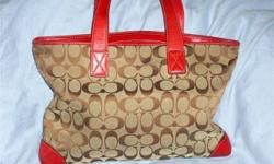 BEAUTIFUL COACH HANDBAG (Riverdale -NW Bronx) ==BEAUTIFUL COACH HANDBAG ==BROWN WITH RED LEATHER TRIM ==ZIPPER COMPARTMENTS ==EXCELLENT CONDITION