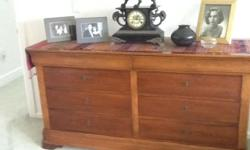 Wood Dresser with matching 2 End Tables, Queen Size Bed Walnut finish in very good condition. As part of ESTATE SALE including Dining Room Set which seats 10, YAMAHA BABY GRAND PIANO, and 2 custom room size EDWARD FIELDS rugs. CALL: (914)591-2761