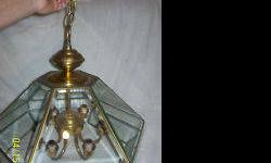 Gently used hanging hallway/foyer and kitchen/dining room light fixture beveled glass and brass. A cash only purchase.
