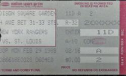 BRIAN LEETCH NY RANGERS 1ST NHL GAME ROOKIE DEBUT TICKET STUB 2/29/88 vs ST LOUIS RARE: NM BRIAN LEETCH NY Rangers 1st NHL GAME ROOKIE DEBUT TICKET STUB v St. Louis Blues at Madison Square Garden February 29, 1988. Also known as Marcel Dionne Night. Brian