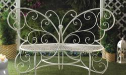 cast aluminum butterfly chairs, flower table, large metal butterfly bench, small tabletop flowerpot table, and cushions. everything is brand new. stored in my living room. these are stock pictures. living room too small to step backwards to take