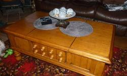 this item is a pre owned coffee table in excellent condition. It has fancy carvings on the top of the wood and also on the bottom of the legs. The glass is in excellent condition and is 1/4 inch thick. If you like nice things you will love this coffee