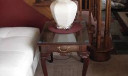 Cherry Queen Anne coffee table and 2 end tables made by Peter Curtis includes glass to protect tops of tables