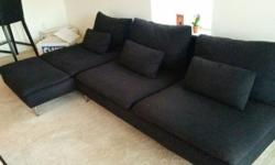I am selling my comfortable couch/sofa as I am moving to another country. The color is black and fabric is cloth. Includes 6 (3 large and 3 small) cushions. Legs are made of metal. Approx 2 years old. No damages, scratches or stains. Size: 280cm x 150cm