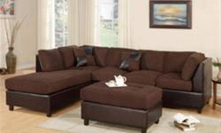 "COZY SECTIONAL - STILL IN BOX ? Also Includes Chaise: 84"" x 34"" x 36""H - 3-seat sofa: 78"" x 34"" x 36""H ? Full Length 112 Inches ? Micro Fiber Tops and Brown Leather Like Base ? VERY Soft and Comfortable ? Reversible Chaise - 4 Color Choices: Chocolate"