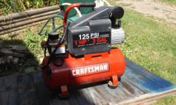 Heres a CRAFTSMAN 1HP,3GAL 125PSI air compressor..in great condition,works perfectly..fast build-up & recovery please call 607-729-zero three four seven between 8am & 7pm..