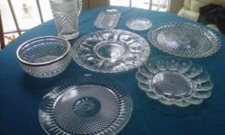 Misc. Crystal plates, dishes, display, or use on special Holidays! Each piece $10.00, buy one or all. Also some made out of Silver and Wood! Throw a party, and set a beatiful table.