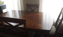 Dining room table with 3 chairs and bench.. comes with extra leaf. Could sit 8. Sturdy!! Chairs could use to be reupholstered.