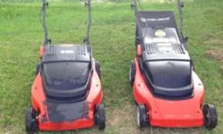 2 Electric lawn mowers, works great. one has a bagger $100.00 each. email for pics