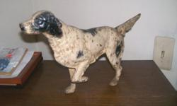 "Cast Iron English Setter door stop in very good condition. 15"" long, 8-1/2"" tall. CALL 845-754-7233 CASH, SHIPPING EXTRA. PAYPAL"