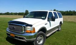 2000 Ford Excursion Limited with no rust. New application of Krown Rustproofing applied 2012 94,000 original miles White with Tan Leather Interior Stainless Steel Exhaust TOW PACKAGE! Third Row Seat! DESIREABLE 7.3L DEISEL ENGINE! Car Fax report showing 4