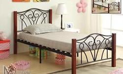 "Size Stand Alone Platform Bed with Cherry Finish Solid Wood Posts. Features Black Metal Trellis Design and Bent-Wood Slats. Measures 57"" x 77"" x 41"" High. Complete with 10 1/2"" Thick Foam Encased 5 Year Warranty Pillow Top Mattress. All Brand New in"