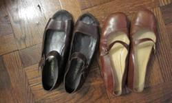 Joan & David Couture brown flats with open toe and a strap. $35 Joan & David Signature saddle-color flats with strap. $34 Donald J. Pliner black slides. $62 Cole Haan Black leather slide sandals. $47 All are size 6 ½ M and are in excellent condition.
