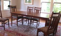 HARVEY ELLIS MISSION (CHERRY WOOD) Genuine Stickley Manufactured late 1990's Age appropriate wear. Table top and arms of armchairs were refinished by Stickley in Aug 2013. Chairs have some very minor nicks where they were pushed up against the table but
