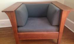 "Genuine Stickley Prairie Chair in Cherry 91-416 Manufacturer: Stickley; mid-1990's Not a reproduction or made by another manufacturer in the ""Stickley Style"". Dimensions: H29"" x W42-1/2"" x D371/2"" Wood Species: Cherry Wood Condition: The wood is"