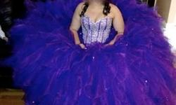 GORGEOUS Mori Lee Designer (Vizcaya) Sweet 16/Quinceanera Dress For Sale!! Worn one (1) time for four (4) hours. Purple color with a cap sleeved bolero jacket. Brand new in excellent condition. Size 10 - but bodice can tie in for a size 8 and out up to a