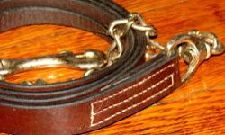 "Gatsby - new leather lead rope- Havana/dark oil - 7' long, 20"" chain - $20 Schutz Bros. - new leather lead rope- Honey/medium oil - 5'9"" long, 24"" chain - $18 Nylon new lead (wine color/deeper than pictured) - 8' long - $7 Cotton new leads (purple/black)"