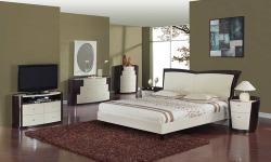 TOLL FREE 1-877-336-1144 WWW.ALLFURNITUREUSA.COM This contemporary bedroom set consisting of a queen size bed, 2 night stands, a dresser and a mirror in two toned finish readily gives an impression of sophistication and good taste. Features: walnut/black