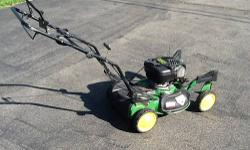 Mower is in very good condition. Powerful 6.75 hp engine with overhead valves. New oil and sharpened blade. . .ready to go. Cuts like a monster! Set up for mulching . . . Bag not included. Front wheels swivel all way around or lock straight ahead (see
