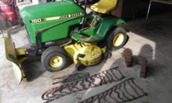 John Deere Lawn mower with 38 inch deck. Wheel weights, chains, 2 extra blades and snow plow. 14.5 Kawasaki engine. It runs great. Just put new belts on it. No hour meter. Please call Doug 607-339-8405