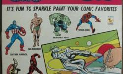 KENNER'S NEW MARVEL SUPERHEROES SPARKLE PAINT SET No. 253H 1967 Deluxe Set comes in a Fully Illustrated 16 x 11 x 1.625 inch Deep Box. © 1966, 1967 Kenner Products Co and Marvel Comics Group. Box Top and Lid Art depicts Marvel Comics characters