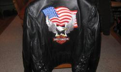 Mens large leather Harley Davidson jacket. It's in FANTASTIC condition!!! No rips, tears or blemishes in the leather. Zippers all work great. Please contact with any questions or offers. 607-237-6726