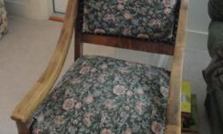 Believe wood is white cherry, need professional upholstery but is service able and clean. Upholstery is green with mauve roses on it. Pick up promptly. Mayville, NY