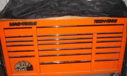 Item up for sale Mac Tools Tech 1000 Tool Box 3 bank Box is Orange draw liners included butcher block top box is very lightly used in the photos you can see dust box has been sitting asking $3500.00 please feel free to contact me with any questions or for