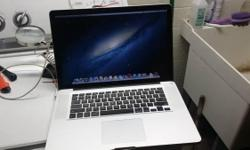 I have a Macbook pro 15in, with i7 intel processor, 250gb hdd, 8gb mem in excellent shape running Mountain Lion osx.. for $650 obo. call or text (585) 284-9719
