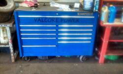 It is a blue two bay rolling box with chrome trim. I have original paperwork, touchup paint, two top inserts and box cover. In great shape! Has not been used for work since I changed careers.