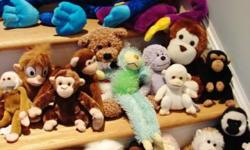 "This is a nice assortment of stuffed monkeys -- many colors and sizes. These twenty (20) monkeys range in size from 5"" up to 30"" from several different manufacturers, including Beanie Baby. Some are ""huggers"" with Velcro on the hands to clasp around your"