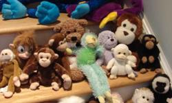 "This nice assortment of twenty (20) stuffed monkeys includes many colors and sizes of monkeys. They range in size from 5"" up to 30"" from several different manufacturers, including Beanie Baby. Some are ""huggers"" with Velcro on the hands to clasp around"