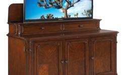 THIS IS A BRAND NEW BANYAN CREEK MORORIZED TV LIFT CABINET. IT HAS BEEN REMOVED FROM THE BOX ,BUT NEVER USED. IT WAS PURCHASED BUT WOULD NOT FIT UP THE STAIRS. YOU CAN SEE ALL DETAILS AND SPECS FOR THIS CABINET BY GOING TO WWW.TVLIFTCABINET.COM & PUT