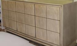 _________ Mid 1950's by AMERICAN of MARTINSVILLE: _________ These four A of M pieces are all one-owner. They have a pale finish on top of the (exterior) mahogany that was called Blonde. [1] 5-1/2 ft long Dresser with Full Mirror and nine (9) drawers (2