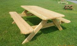 pic1 -- Pressure treated picnic table with extra wide top and tip resistant base. $150 pic2 -- Pressure treated table with separate benches two 6 foot benches and two 24 inch benches -- $225 or $180 without the end benches pic3 -- 4' Benches $75 each or