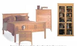 Pompanoosuc Mills handcrafts hardwood furnishings for home and office that are beautiful, functional and durable enough for everyday use. his beautiful, well-maintained 5-piece set of double bed headboard, foot board and frame, dresser, bookcase/cabinet,
