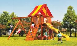 Premium TreeFrogs swingset, Parrot Island Fort square-base set with fort, vinyl roof, swingbeam, ladder, slide, rockwall *deck ht- 5 ft *deck size- 20 sq ft *swingbeam ht- 8 ft *footprint 22L x 12W INCLUDES 3 position swingbeam 2 belt swings (g or y) 1