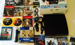 ps3 move bundle 320gb sony playstation slim black w/ GAMES extras (Jamaica) ******LIKE NEW ******* *** PLEASE READ*** THE UNIT AND ALL PARTS ARE EXTREMELY CLEAN REPACKED IN ORIGINAL PACKAGE unit tested 100% works excellent Cosmetic appearance: looks