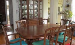 "Formal Solid Cherry Dining Room Set with Large China Cabinet Custom-crafted by Canal Dover Furniture Co. Midvale, Ohio **Pedestal Style table (59"" long) with four (4)-12"" self-storing leaves; with leaves 107"" long table pads included **6 Upholstered"