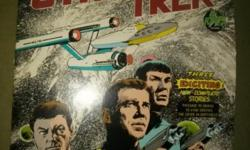 Rare Star Trek The Original Series Story Album Record One. Release date 1975. Power records. Record # 8158. 12 inch. 33-1/3. Contains 3 stories: Passage to Moauv, In Vino Veritas, and The Crier in Emptiness. Album cover has some wear and wrinkles, but