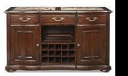I am selling a 2 year old Buffet Bar with wine storage space, its condition is like brand new. No scratches or any imperfections noted to body of the Buffet. Excellent Quality, Belmont Cherry wood and serving tray included. The price is negotiable, please