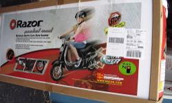 new still in box ?GIRLS MIMIATURE ELETRIC EURO-STYLE SCOOTER ?VINTAGE INSPIRED MOD /DESIGN HIGH PERFORMANCE ?TRAVELS UP TO 10 MPH ?TWIST GRIP THROTTLE ?SINGLE SPEED CHAIN DRIVEN CHAIN DRIVEN FOR MAXIMUM POWER ?PNENUMATIC TIRE FOR A SMOOTH RIDE ?RETACTABLE