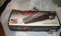 Sears Car Vac Plus 917830, car vac, 2 filter bags, upholstery brush, crevice tool, adaptor, instructions, plugs into a standard 12v power source, works really well, used once